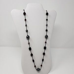 Lia Sophia Red Glass Bead Gunmetal Gray Necklace